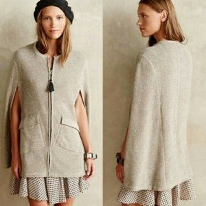 Anthropologie Whimbrel Poncho Cape Grey Small